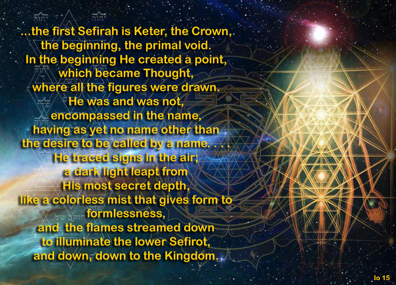 The head of Kether is rooted above the Sefirot in Ein Sof, the Divine nature of the Creator.